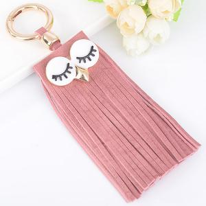 Faux Suede Owl Fringed Keyring - Pink - 4xl