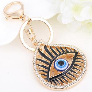 Rhinestone Embellished Eye Pattern Alloy Keyring - GOLDEN