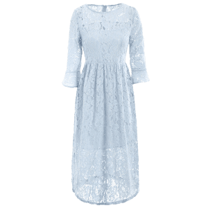 Robe col rond manches cloches en dentelle -