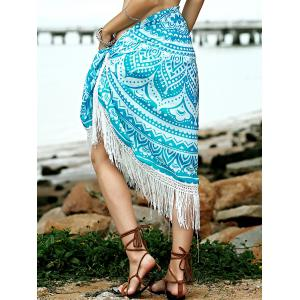 Hawaiian Geometric Fringe Convertible Sarong Dress Cover Up - LIGHT GREEN ONE SIZE(FIT SIZE XS TO M)