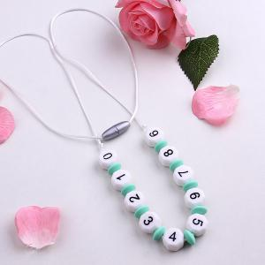 Beaded Silicone Numbers Necklace - White