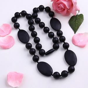 Embellished Silicone Oval Beaded Necklace - Black - 75a