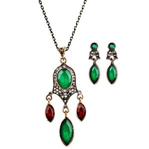 Faux Gemstone Chandelier Necklace and Earrings - Green
