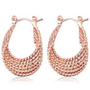 Gypsy Horseshoe Shape Hoop Earrings - Rose Gold