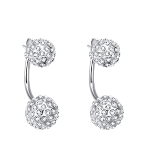 Rhinestone Ball Shape Ear Jackets - Silver
