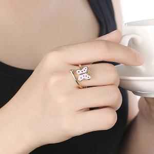 Butterfly Shaped Cuff Ring - PINK