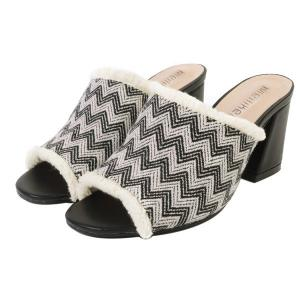 Block Heel Zigzag Pattern Slippers - BLACK 37