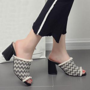 Block Heel Zigzag Pattern Slippers - Black - 39