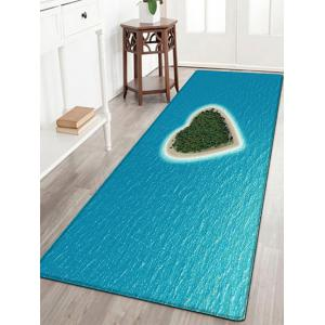 Heart Island Pattern Water Absorption Flannel Area Rug