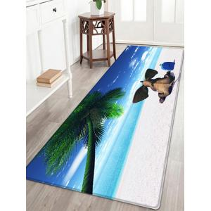 Elephant Beach Holiday Pattern Water Absorption Flannel Area Rug - Blue - W24 Inch * L71 Inch