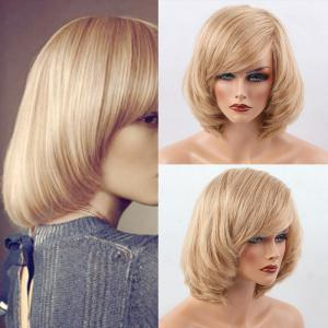 Short Inclined Bang Bob Straight Human Hair Wig