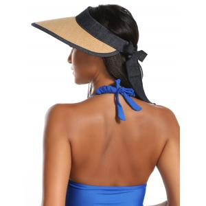 Wide Brim Bowknot Band Open Top Straw Hat