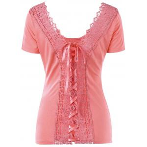Laced Lace-up Top - ORANGEPINK 2XL