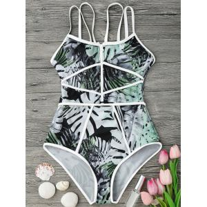 Tropical Print Piping One Piece Swimsuit - White And Green - L