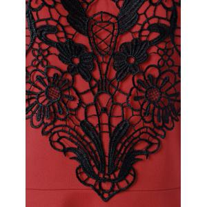 Crochet Panel Plus Size Flare Cocktail Dress - RED 5XL