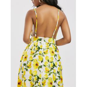 Lemon Print Backless Split Cami Maxi Dress - YELLOW XL