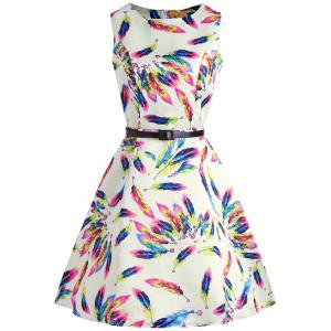 Colorful Feather Print Dress