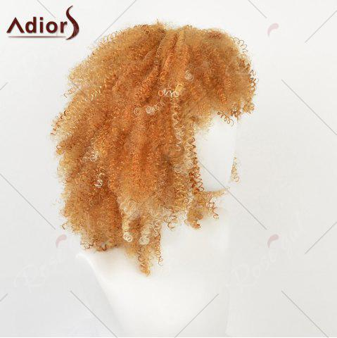 Cheap Medium Side Bang Shaggy Afro Kinky Curly Synthetic Wig - YELLOW  Mobile