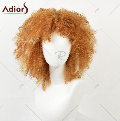 New Medium Side Bang Shaggy Afro Kinky Curly Synthetic Wig - YELLOW  Mobile