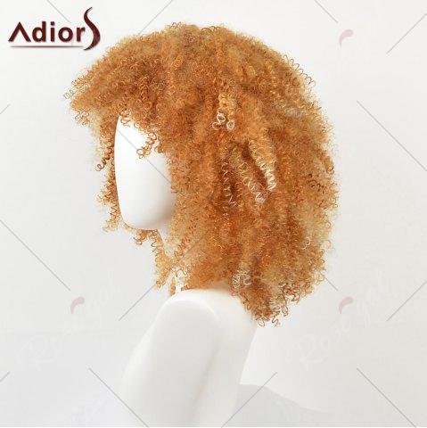 Store Medium Side Bang Shaggy Afro Kinky Curly Synthetic Wig - YELLOW  Mobile
