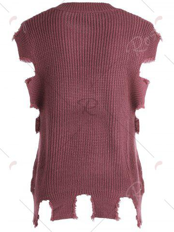 Trendy Crew Neck Cable Knit Sweater Vest - ONE SIZE DARK RED Mobile