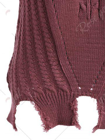 Fashion Crew Neck Cable Knit Sweater Vest - ONE SIZE DARK RED Mobile