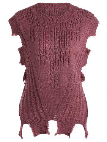 Online Crew Neck Cable Knit Sweater Vest - ONE SIZE DARK RED Mobile