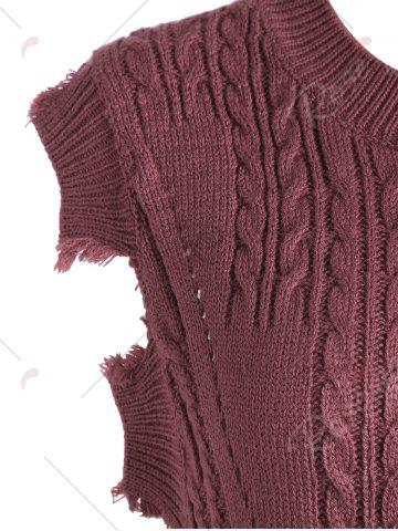 Shop Crew Neck Cable Knit Sweater Vest - ONE SIZE DARK RED Mobile