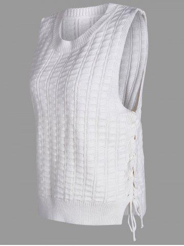 Trendy Knit Lace Up Sweater Vest - ONE SIZE WHITE Mobile