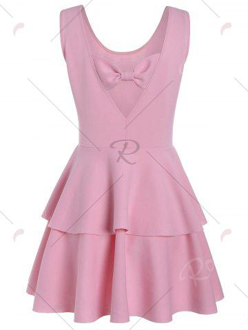Outfit Layered Flouce Cut Out Back Tank Dress - M PINK Mobile
