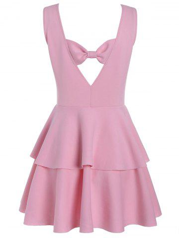 Cheap Layered Flouce Cut Out Back Holiday Dress - L PINK Mobile