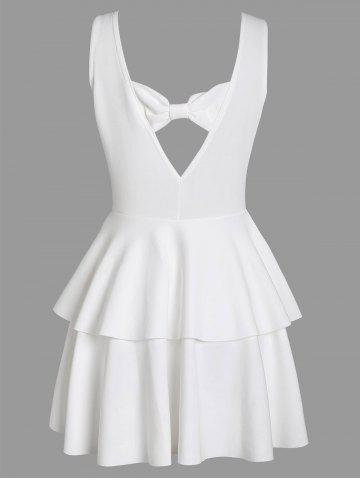 Shop Layered Flouce Cut Out Back Holiday Dress - M WHITE Mobile
