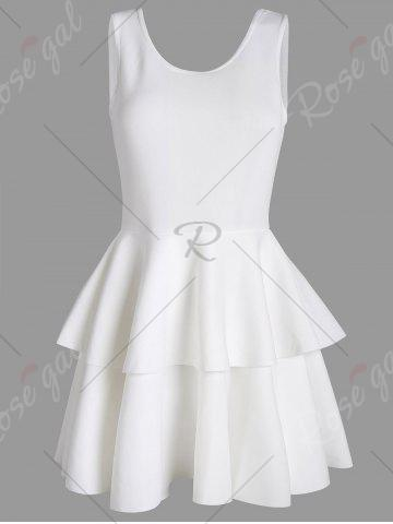 Hot Layered Flouce Cut Out Back Tank Dress - M WHITE Mobile