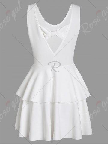 Best Layered Flouce Cut Out Back Tank Dress - M WHITE Mobile