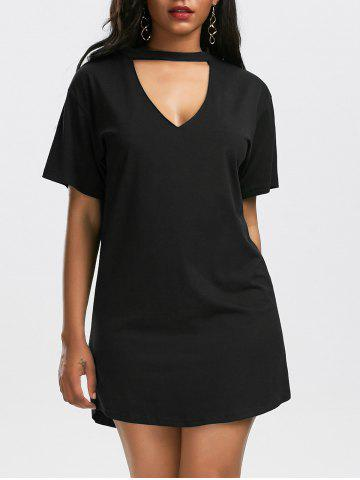 Low Cut Short Sleeve Shift Choker Dress - Black - Xl