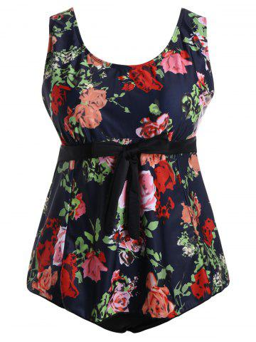 Outfit Floral Padded High Waisted Plus Size Bathing Suit - 3XL MULTI Mobile