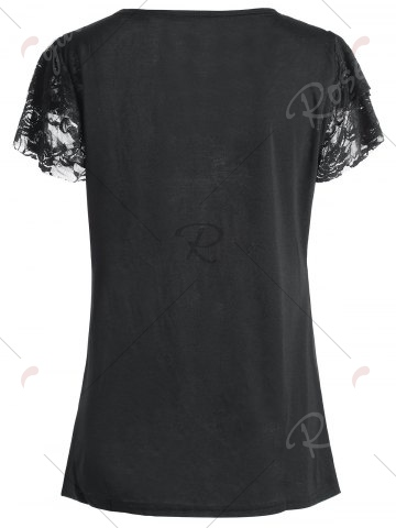 Latest Angel Print Plus Size Lace Trim Tee - 5XL BLACK Mobile