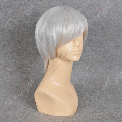 Fancy Neon Genesis Evangelion Cosplay Side Bang Short Straight Synthetic Wig - SILVER WHITE  Mobile