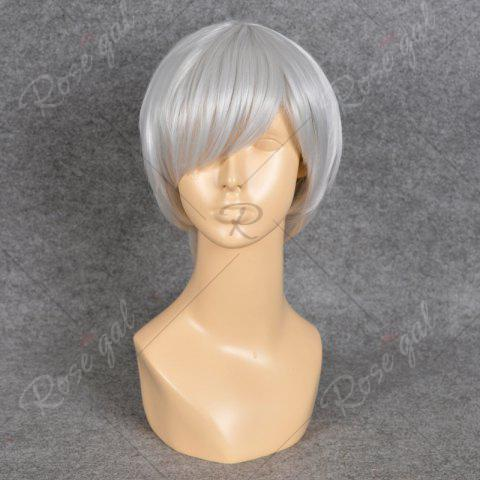 Affordable Neon Genesis Evangelion Cosplay Side Bang Short Straight Synthetic Wig - SILVER WHITE  Mobile