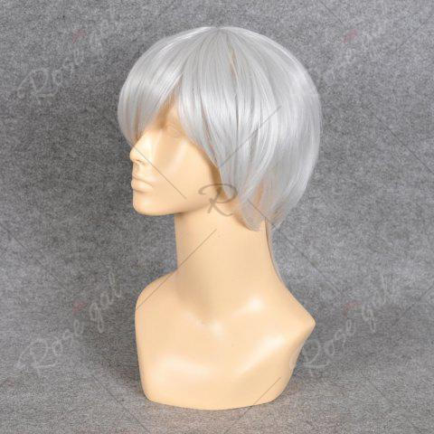 Trendy Neon Genesis Evangelion Cosplay Side Bang Short Straight Synthetic Wig - SILVER WHITE  Mobile