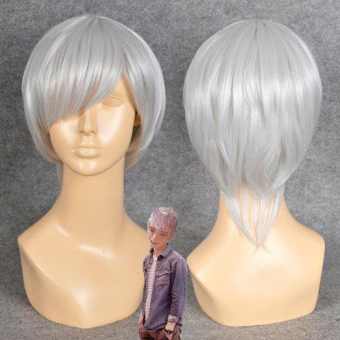 Discount Neon Genesis Evangelion Cosplay Side Bang Short Straight Synthetic Wig SILVER WHITE