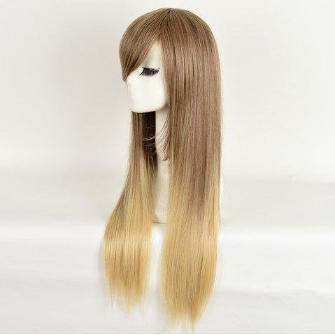Sale Side Bang Long Straight Ombre Synthetic Wig - COLORMIX  Mobile