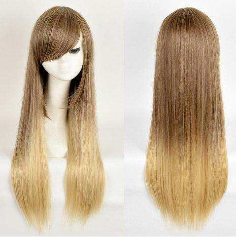 Trendy Side Bang Long Straight Ombre Synthetic Wig - COLORMIX  Mobile