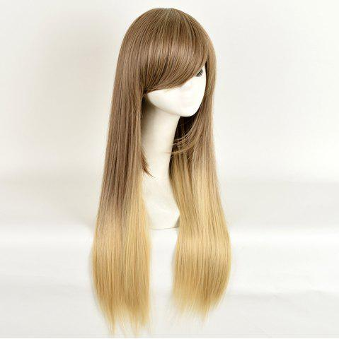 Online Side Bang Long Straight Ombre Synthetic Wig - COLORMIX  Mobile