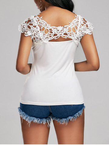 Trendy Lace Trim Cap Sleeve Cutwork T-shirt - 2XL WHITE Mobile
