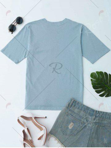 Affordable Pocket Graphic Tee - ONE SIZE STONE BLUE Mobile