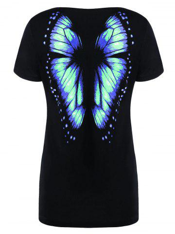 Fashion Butterfly Printed Short Sleeve Tee - 2XL MINT Mobile
