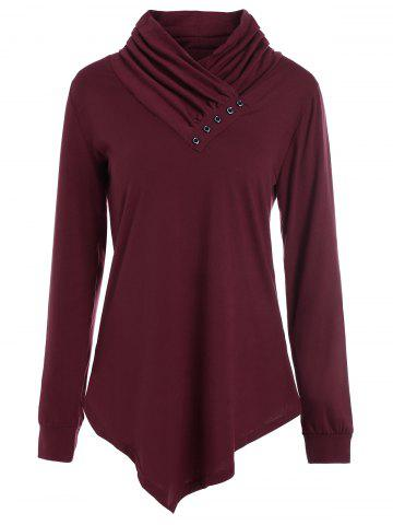 Shops Buttons Long Sleeve Asymmetric Top - M WINE RED Mobile