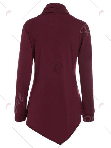 Outfits Buttons Long Sleeve Asymmetric Top - M WINE RED Mobile