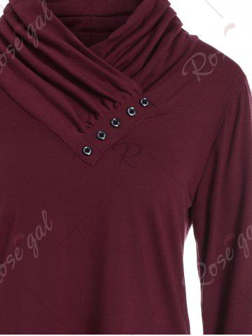 New Buttons Long Sleeve Asymmetric Top - M WINE RED Mobile